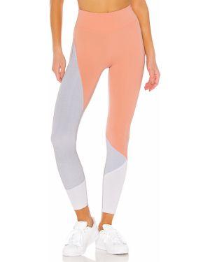 Różowe legginsy z nylonu peep toe Lovewave