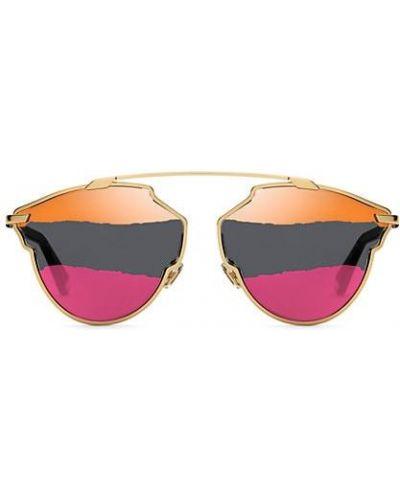 Розовые солнцезащитные очки металлические Dior