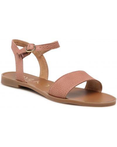 Sandały skórzane - różowe Ryłko