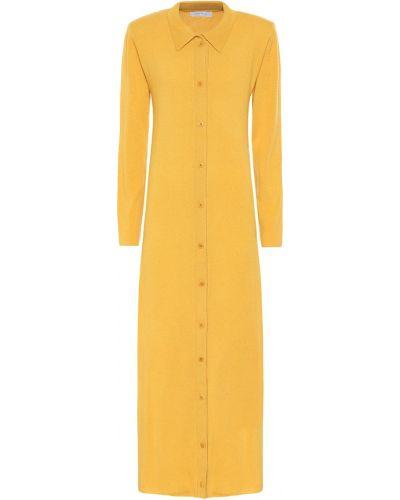 Желтое вязаное платье макси Ryan Roche