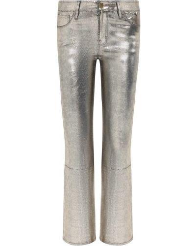Укороченные брюки кожаные серебряный J Brand
