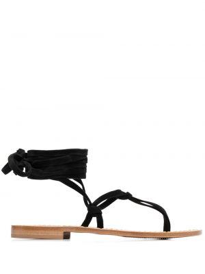 Черные кожаные сандалии с завязками P.a.r.o.s.h.