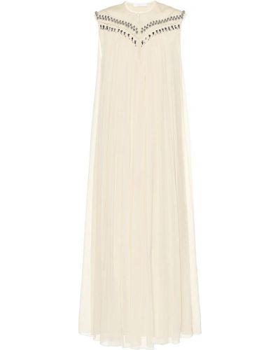 Платье миди шелковое бежевое Chloé