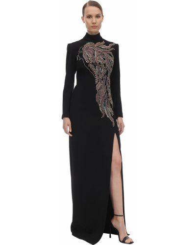 Czarna sukienka długa z długimi rękawami srebrna Sandra Mansour