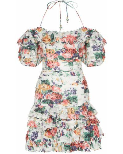 Платье мини с цветочным принтом с открытыми плечами Zimmermann