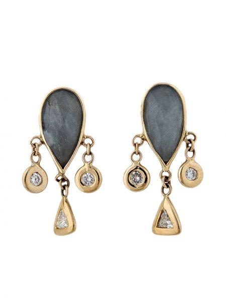 Золотистые желтые золотые серьги с бриллиантом Jacquie Aiche