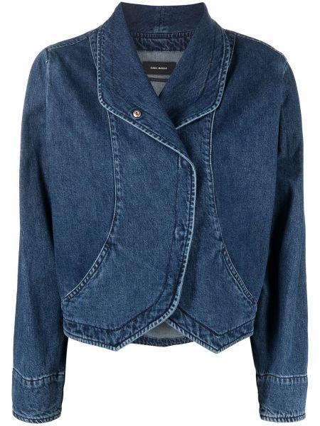Bawełna niebieski jeansy z kołnierzem Isabel Marant