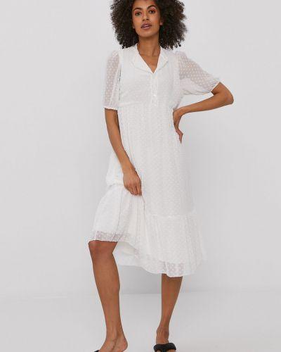 Biała sukienka mini rozkloszowana z wiskozy Hailys
