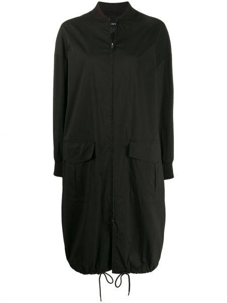 Длинная куртка черная с карманами Dkny