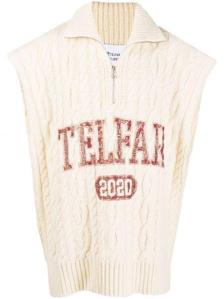 Beżowy prążkowany pulower wełniany Telfar