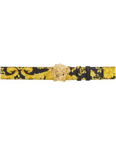 Czarny pasek dwustronny z klamrą z prawdziwej skóry Versace