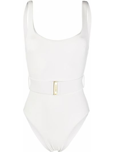 Пляжный белый купальник с шортами с вырезом Zimmermann