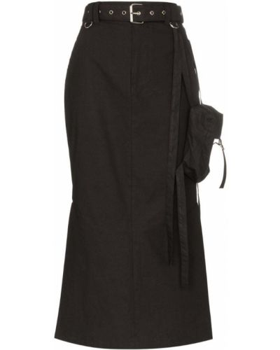 Черная юбка миди в рубчик Hyein Seo