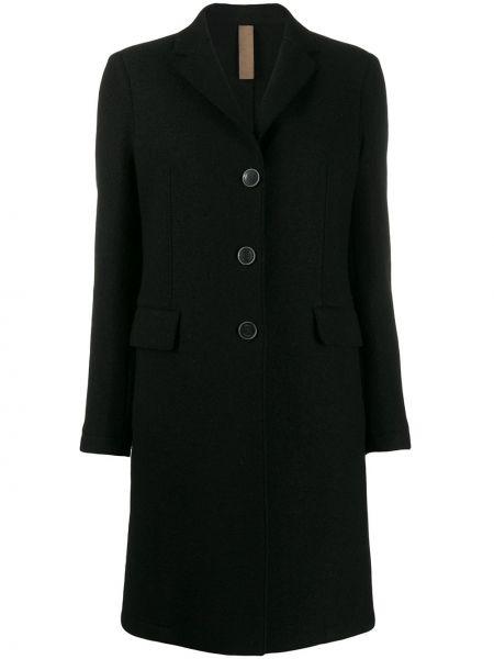 Однобортное шерстяное черное длинное пальто Eleventy