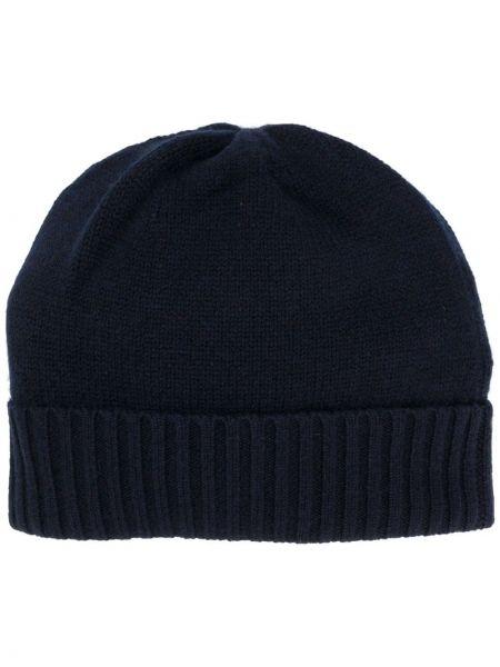 Кашемировая вязаная синяя шапка бини в рубчик Allude