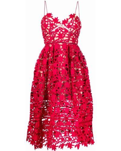 Красное гипюровое платье миди Self-portrait