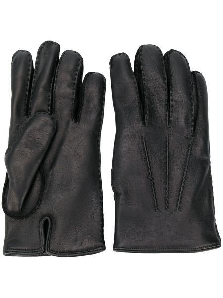 Czarny skórzany rękawiczki z prawdziwej skóry za pełne Ermenegildo Zegna