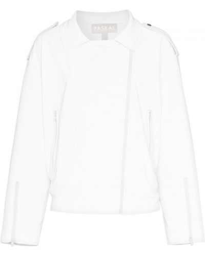 Белая классическая кожаная куртка Paskal