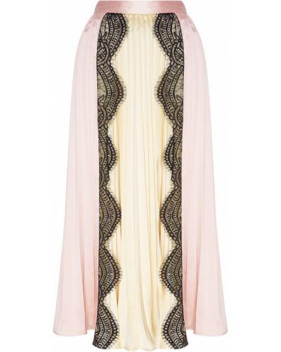Плиссированная юбка миди розовая Self-portrait