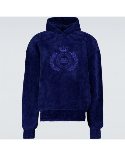 Niebieski wełniany sweter z kapturem z haftem Balenciaga