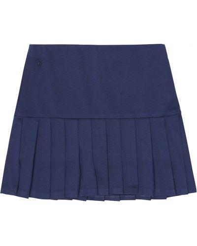 Szkoła niebieski pofałdowany spódnica z wiskozy Polo Ralph Lauren Kids