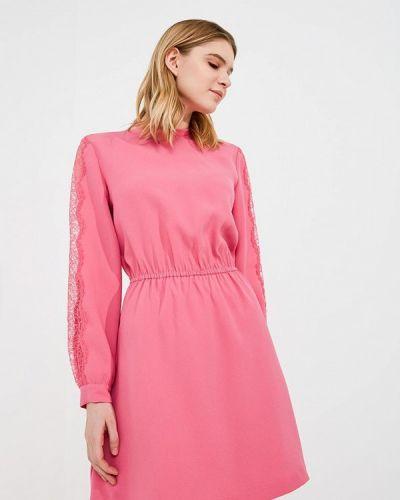 Розовое платье с открытыми плечами Pinko
