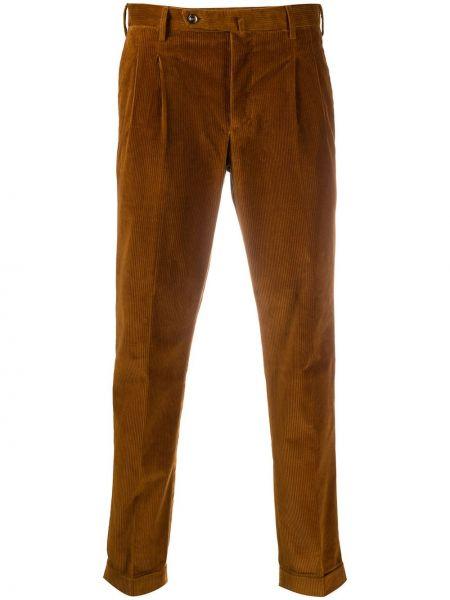 Brązowe spodnie sztruksowe z paskiem Pt01