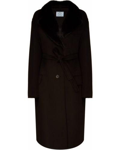 Пальто шерстяное с воротником Prada