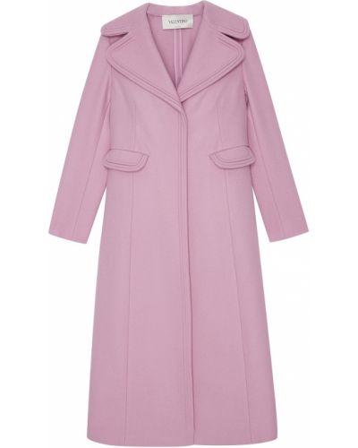 Длинное пальто розовое шерстяное Valentino