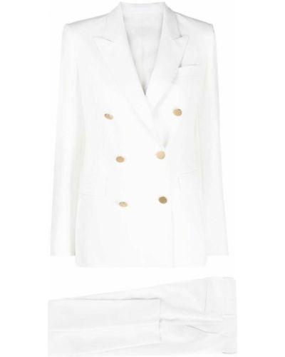 Белый льняной костюм двубортный Tagliatore