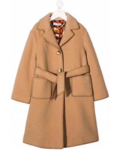 Бежевое кашемировое пальто классическое с воротником Dolce & Gabbana Kids