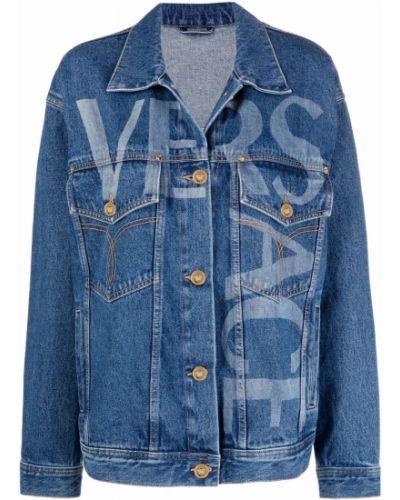 Джинсовая куртка с принтом золотая с воротником Versace