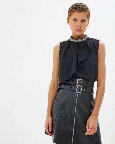Блузка с открытыми плечами весенний черная Gepur