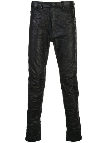 Черные зауженные брюки с поясом на пуговицах бязевые Poème Bohémien