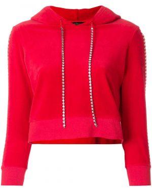 Красный велюровый спортивный топ с капюшоном Juicy Couture