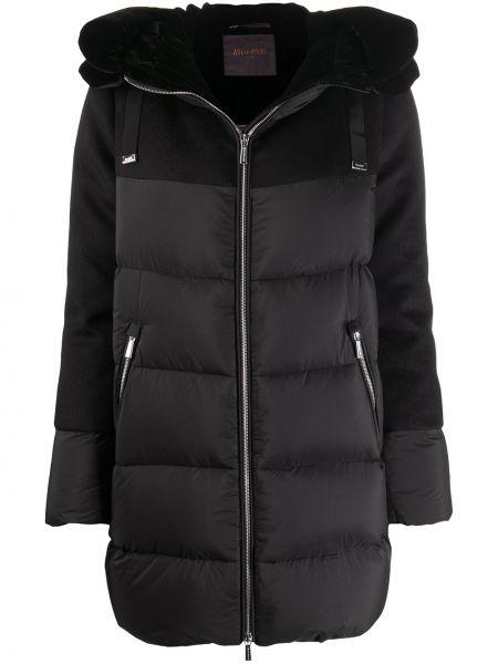 Черное шерстяное длинное пальто с опушкой с карманами Moorer
