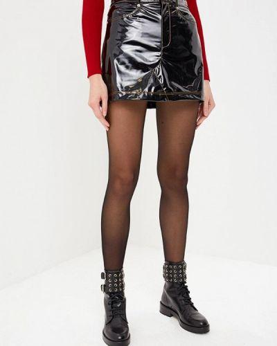 Кожаная юбка черная Sonia Rykiel