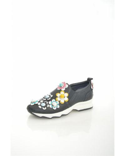 Кожаные кроссовки на платформе черные Just Couture