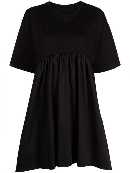 Czarna sukienka mini bawełniana krótki rękaw Cynthia Rowley