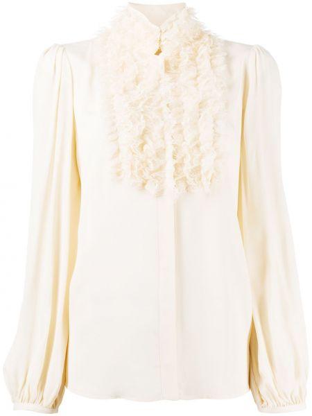 Прямая блузка с длинным рукавом с оборками с воротником с драпировкой Elisabetta Franchi