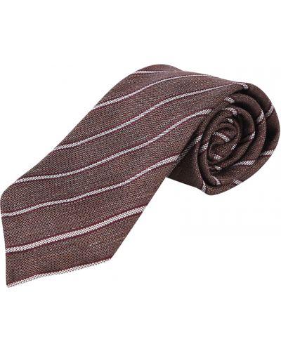 Brązowy krawat w paski Lardini