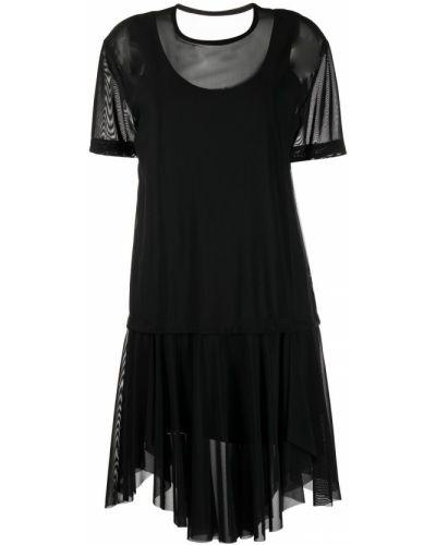 Хлопковое черное платье мини с вырезом Diesel