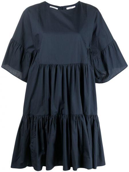 Синее платье мини закрытое с вырезом Closed
