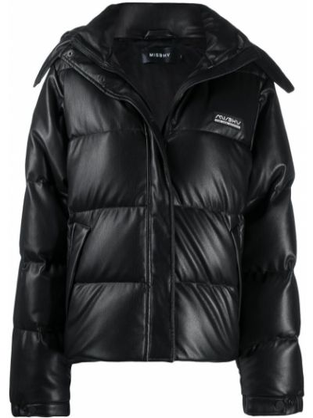 Черная кожаная длинная куртка с капюшоном Misbhv