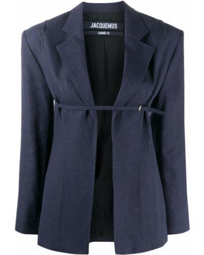 Хлопковый синий удлиненный пиджак с поясом Jacquemus