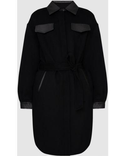 Шерстяное черное пальто со вставками Mackage