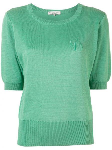 Zielony t-shirt bawełniany z haftem Christian Dior