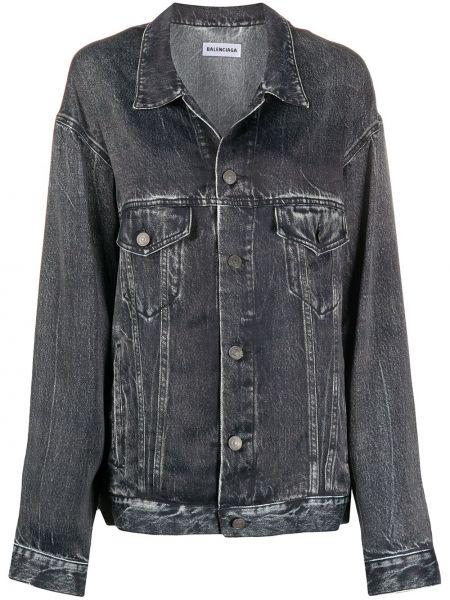Джинсовая куртка черная длинная Balenciaga