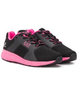 Sneakersy z logo czarne Emporio Armani Kids