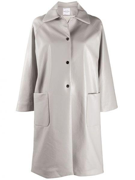 Коралловое однобортное длинное пальто с воротником Roseanna